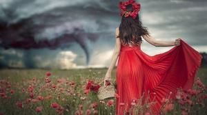 Girl Red Dress Poppy Wreath 2560x1600 Wallpaper