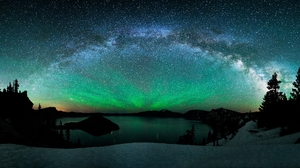 Aurora Borealis Lake Milky Way Mountain Night Sky Snow Starry Sky Stars Winter 2500x1080 wallpaper