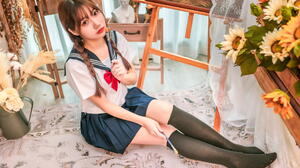 Asian Model Women Long Hair Dark Hair School Uniform Sailor Uniform Knee High Socks Paint Brushes Su 1920x1280 Wallpaper