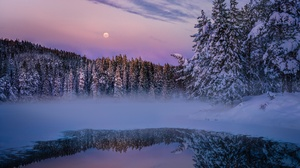 Fog Forest Lake Nature Reflection Snow Winter 2000x1541 Wallpaper