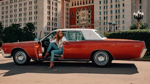 Car Girl Jeans Lincoln Continental Model Retro 1920x1280 Wallpaper
