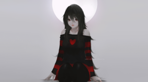 Anime Girls Original Characters Black Hair Women Long Hair Red Eyes Looking At Viewer Bare Shoulders 2560x1440 Wallpaper