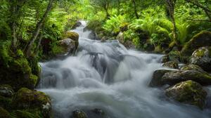 Dag Ole Nordhaug Landscape Nature Plants Long Exposure Water River Green Moss Stones Rocks 2048x1536 wallpaper