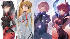 Anime Anime Girls Plugsuit Neon Genesis Evangelion Fate Series Crossover Tohsaka Rin Asuka Langley S 2198x1200 wallpaper