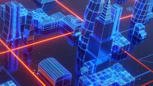 CG Digital Art Digital Abstract 3D Abstract Neon Glow Neon Colorful Futuristic City Hologram 2160x3840 Wallpaper