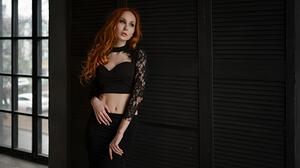 Anna Boevaya Women Redhead Sergey Fat Portrait Black Clothing 1920x1080 Wallpaper