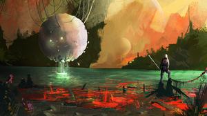 Artistic Lake Man Sphere 2000x1127 wallpaper
