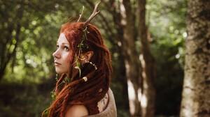 Women Redhead Dreadlocks Horns Blue Eyes Women Outdoors Long Hair Piercing Nose Rings 1920x1200 Wallpaper