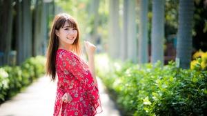 Brunette Depth Of Field Girl Model Smile Woman 7952x5304 Wallpaper