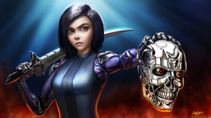 Alita Alita Battle Angel Alita Battle Angel Terminator Endoskeleton T 800 Robot Skull 3657x2064 Wallpaper