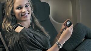Caroline Wozniacki Tennis Player Women Blonde Smiling Danish Looking Away Airplane 1600x1200 Wallpaper