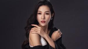 Asian Model Women Long Hair Brunette Earring White Dress Black Scarf 4000x2667 Wallpaper