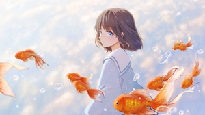 Anime Anime Girls Blue Eyes Short Hair Brunette Fish Clouds Bubbles Looking Away 1920x1357 Wallpaper