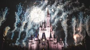 Castle France Paris Night Fireworks Cinderella Castle 2000x1333 Wallpaper