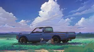 Artwork Car Pickup Trucks Women Clouds 1920x1316 Wallpaper