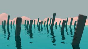 CGi 3D Water Mountains Vaporwave 1920x1080 wallpaper