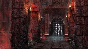 Castle Dark Fantasy Gothic Skull Torch 1920x1080 Wallpaper
