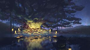 Artwork Digital Art Night Boat Trees Lake 1920x1283 Wallpaper
