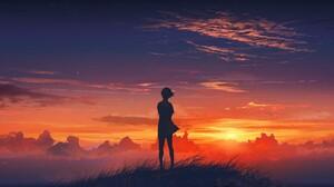 Anime Girl Sunset 1920x1080 wallpaper