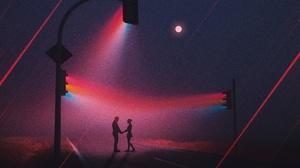 Couple Love Night Traffic Light 3840x2160 Wallpaper