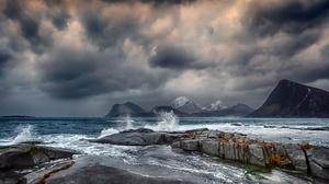 Cloud Coast Mountain Norway Sea 3600x1680 Wallpaper