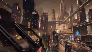 Artwork Science Fiction Cyberpunk City 1920x987 Wallpaper