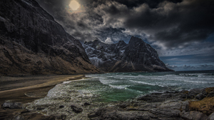Coastline Kvalvika Landscape Lofoten Islands Mountain Norway Rock Sea Seashore 4928x3280 Wallpaper