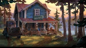 Landscape Digital Art Artwork House Forest Truck Trees Pickup Trucks 1920x1172 Wallpaper