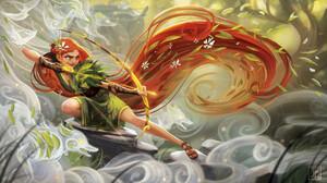 Archer Long Hair Orange Hair Woman Warrior 1920x1088 wallpaper