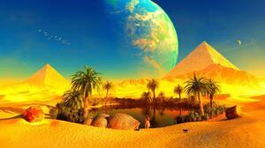 Cat Desert Oasis Planet Pyramid 1920x1080 Wallpaper