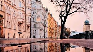 Czech Republic House Architecture Street Reflection 2048x1152 Wallpaper