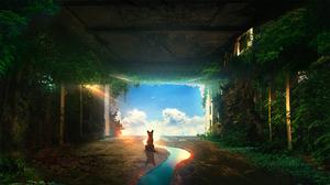 Digital Art Landscape Lights Dog Surreal Clouds Overgrown T1na 2560x1440 Wallpaper