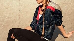 Ksenia Kokoreva Women Brunette Long Hair Braids Makeup Eyeshadow Looking Away Sportwear Jacket Black 1440x2160 Wallpaper
