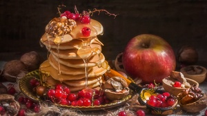 Food Sweets Pancakes Honey Apples Fruit Berries Red Currant Walnuts Syrup 2500x1632 Wallpaper