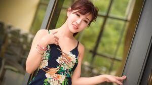 Asian Model Women Long Hair Brunette Bracelets Flower Dress Depth Of Field Ponytail Window 1840x1228 Wallpaper