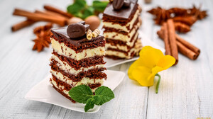 Food Cake Sweets Chocolate Flowers Leaves 1920x1080 Wallpaper