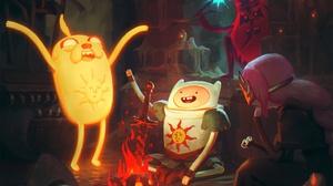 Adventure Time Dark Souls Fan Art Fin Jake BMO Princess Bubblegum Ice King Dark Solaire Praisethesun 1920x1920 Wallpaper