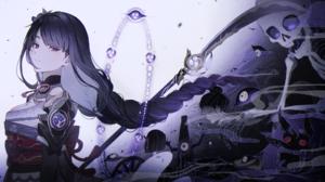 Genshin Impact Raiden Shogun Genshin Impact Anime Girls Artwork Haragaita Long Hair Braids Dark Hair 2100x1100 wallpaper