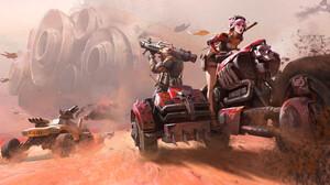 Wenfei Ye Drawing Buggy Rocket Launchers Women Wheels Dirt Driving Desert 1920x953 wallpaper