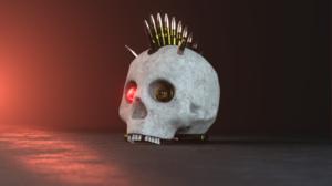 Cyber Skull Punk Robotic Bullet Glowing Blooms Lights 3D PunkCrow Screen Shot 2560x1440 Wallpaper