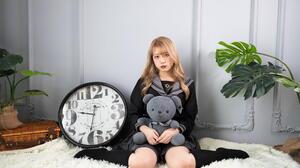 Asian Model Women Long Hair Knee High Socks Sitting Clocks Carpet Teddy Bears Plants Sailor Uniform 1920x1280 Wallpaper