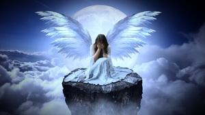Angel Cloud Crying Full Moon Sad Woman 3840x2560 Wallpaper