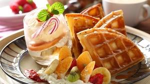 Breakfast Cup Fruit Still Life Waffle 2048x1340 Wallpaper