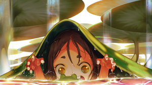 Fantasy Art Frog Brunette Yellow Eyes Water Lilies Water Drops Teeth Anime Girls Blueorca 2560x1440 Wallpaper