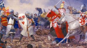 Battle Of Crecy Knight War History Artwork Military Soldier 1359x900 Wallpaper