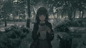 Anime Girls Short Hair Dark Hair Winter Snow Mail Forest Smile Bangs Skirt Night Jacket School Unifo 4438x1902 Wallpaper