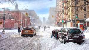 Building Car City People Snow Snowfall Winter 5559x3706 Wallpaper