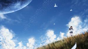 Anime Girl School Uniform Sky Wind Turbine 1910x1170 wallpaper