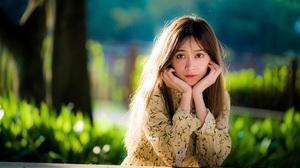 Asian Brunette Depth Of Field Girl Lipstick Model Woman 3840x2559 Wallpaper