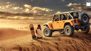 Jeep Jeep Wrangler Desert Dunes Surfers F 150 Raptor Ford Deadpool Dinosaurs Volcano Lava Pterodacty 3432x1931 Wallpaper